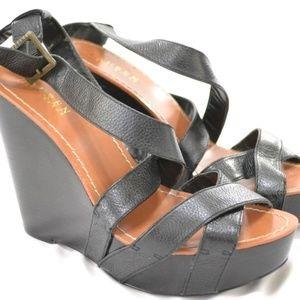 Ralph Lauren Women's Ankle Strap Platform Leather